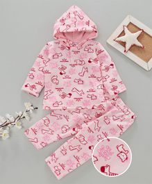 MFM Animal Printed Full Sleeves Hoodie & Full Length Bottom Set - Pink