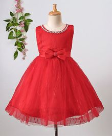 Aodaya Bow Applique Sleeveless Net Dress - Red