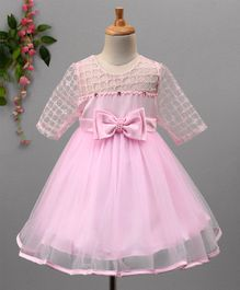 Aodaya Stones & Bow Embellished Half Sleeves Net Dress - Pink