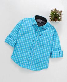 Dapper Dudes Full Sleeves Printed Shirt - Sky Blue