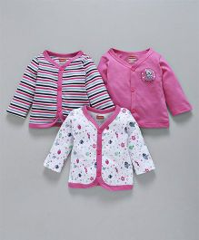62496fb6766 Babyhug Full Sleeves Cotton Jhabla Vest Pack of 3 - Pink   White