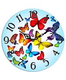 Studio Shubham Butterfly Printed Wooden Wall Clock - Blue