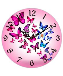 Studio Shubham Butterfly Printed Wooden Wall Clock - Pink