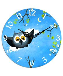 Studio Shubham Owl Printed Wooden Wall Clock - Blue