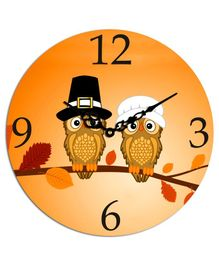 Studio Shubham Owl Printed Wooden Wall Clock - Orange
