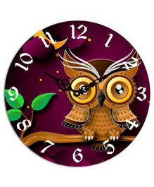 Studio Shubham Owl Design Wooden Wall Clock - Purple Brown