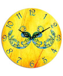 Studio Shubham Peacock Design Wooden Wall Clock - Yellow