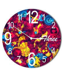 Studio Shubham Abstract Design Wooden Wall Clock - Multicolour