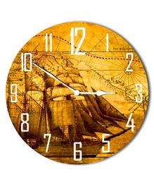 Studio Shubham Boat & Map Design Wooden Wall Clock - Yellow Brown