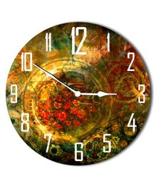 Studio Shubham Vintage Abstract Design Wooden Wall Clock - Multicolour