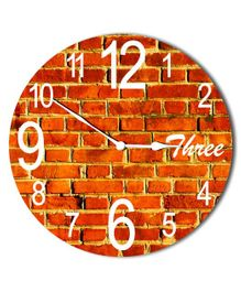 Studio Shubham Brick Design Wooden Wall Clock - Brown