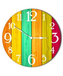 Studio Shubham Colourful Wooden Wall Clock - Multicolour