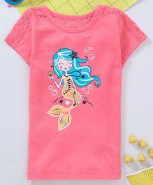 a032c834228 Babyhug Half Sleeves Tee Mermaid Print - Coral