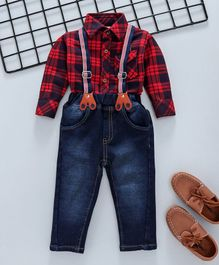 Little Kangaroos Full Sleeves Checks Shirt With Jeans & Suspenders - Red & Blue