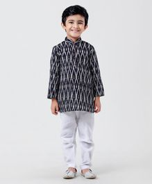 Little Aryan Full Sleeves Printed Kurta Pyjama Set - Navy Blue