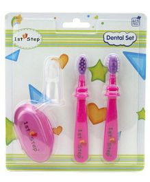 1st Step BPA Free Dental Set With Silicone Finger Brush-Pink