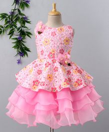 Babyhug Sleeveless Party Wear Frock With Floral Applique - Pink