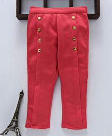 Button Noses Full Length Solid Trouser With Studs - Coral
