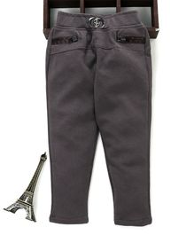 Button Noses Full Length Solid Jeggings - Dark Grey