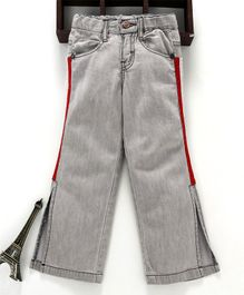 Button Noses Full Length Wide Cut Jeans - Grey