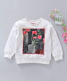 Button Noses Full Sleeves Tee With Floral Design & Lace Detailing - White