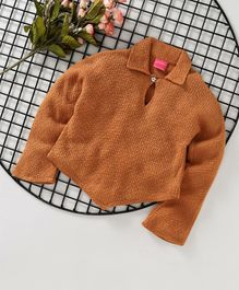 Button Noses Full Sleeves Winter Wear Tee - Brown