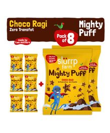 Slurrp Farm Mighty Puff  Choco Ragi Yellow - Pack of 8