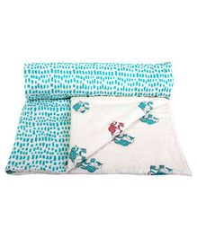 Mom's Home Organic Cotton Summer AC Baby Quilt Blanket cum Bedspread Elephant Design - Green