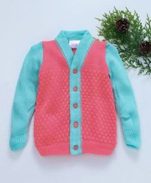 Little Angels Full Sleeves Dual Colour Sweater - Pink Sea Green