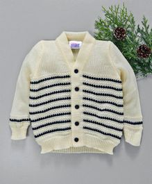 Little Angels Full Sleeves Striped Sweater - Cream & Navy