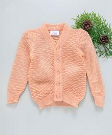Little Angels Full Sleeves Sweater Triangle Design - Peach