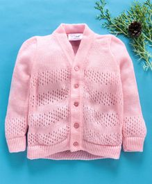 Little Angels Full Sleeves Sweater Dot Design - Pink
