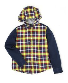 Indian Terrain Full Sleeves Hooded Shirt - Navy Blue Yellow