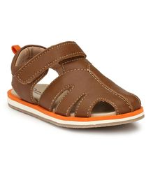 Tuskey Sandals With Velcro Closure - Brown