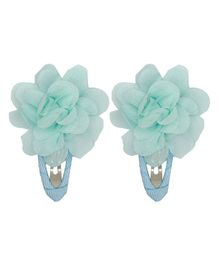 Pikaboo Flower Applique Snap Clips - Light Blue