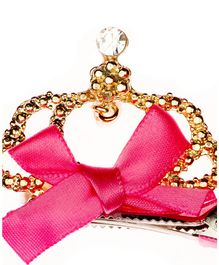 Pikaboo Alligator Clip Crown & Bow Motif - Pink