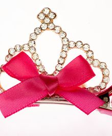 Pikaboo Alligator Clip Studded Crown Motif - Fuchsia