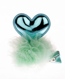 Pikaboo Heart Shaped Alligator Hair Clip - Green