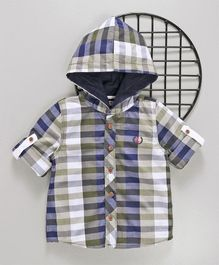 ZY & UP Hooded Checks Full Sleeves Shirt - Green