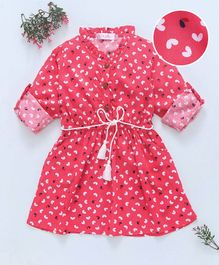ELE Heart Print Dress With Belt At The Waist - Pink