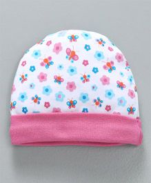 the latest 9f405 50342 Babyhug Cotton Cap Floral Print - White Pink