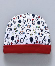 Babyhug Cotton Round Cap Penguin Print - Red White