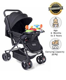Babyhug Supreme Stroller With Mosquito Net & Musical Toy Tray - Black