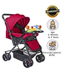 Babyhug Supreme Stroller With Mosquito Net & Musical Toy Tray - Dark Pink
