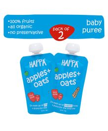 Happa Organic Apples And Oats Fruit And Grain Puree Pack of 2 - 100 gm each