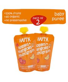 Happa Organic Apples Mangoes And Multigrain Fruit And Grain Puree Pack of 2 - 100 gm each