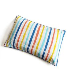 Silverlinen Cotton Striped & Zippered Pillow Cover - Multicolour