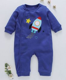First Movement Spaceship Applique Full Sleeves Romper - Blue