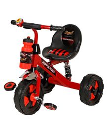 Dash Motocross Stylish Tricycle With Sipper Bottle - Red & Black