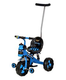 Dash Motocross Stylish Tricycle With Parent Push Handle & Sipper Bottle - Blue & Black